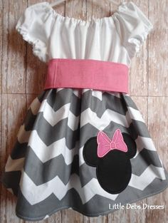 Minnie Mouse Disney Girls Gray Chevron Peasant Dress - CUSTOM - 3 Months to 8 Years via LittleDebsDresses. Click on the image to see more!