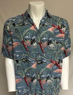 89f5bb197 Reyn Spooner Medium Palm Trees Mountain Short Sleeve Button Front Hawaiian  Shirt  ReynSpooner  Hawaiian
