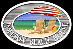 Custom residential, beach house sign with illustration of beach chairs by THE SIGN MAN of North Myrtle Beach, South Carolina.  Facebook page Residential Signs by The Sign Man.  email: wodinart@aol.com.  phone: 843-272-3820.