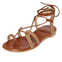 Stuart Weitzman Looping Wrap Sandals (113.955 HUF) ❤ liked on Polyvore featuring shoes, sandals, cognac, toe ring sandals, toe-loop sandals, stuart weitzman shoes, leather lace up sandals and cognac shoes