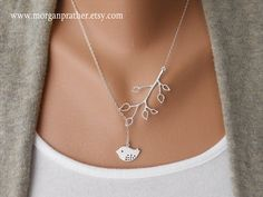 Bud Branch and Detailed Bird Lariat - Dainty Pendants - Sterling Silver Fine Cable Chain - morganprather. $27.00, via Etsy.