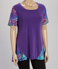 Look at this GLAM Wild Purple Jungle-Sleeve Scoop Neck Top - Plus on #zulily today!