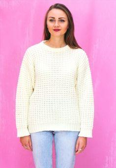 1990s vintage Aran knit cream jumper