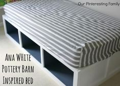 PB Inspired Day Bed with Ana White Plan. Looks fairly easy to make would work great next to knee walls in attic as a couch/ guest bed Furniture Projects, Home Projects, Diy Furniture, Painted Furniture, Trendy Furniture, Bedroom Furniture, Ana White, Girls Bedroom Storage, Bedroom Ideas