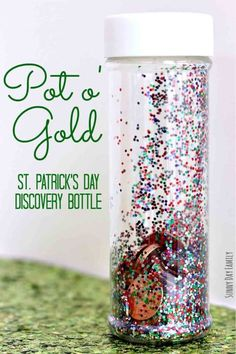 Pot of Gold: Turn a bottle of glitter into a sensory activity for younger tykes. Click through to find more fun and easy ideas of St. Patrick's Day crafts for kids.