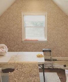 Room with a Petal Pusher view (via @clinerose - thanks again!) #petalpusherwallpaper #wallpaperinstallation #whiteandgold