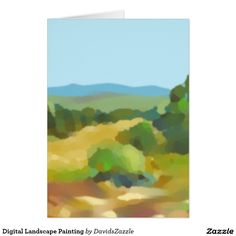 Digital Landscape Painting Greeting Card  Also available on many more products, click the link and type in the name of this design in the search bar on my products home page to see them all!  #landscape #plein #air #impressionism #digital #painting #paint #green #yellow #blue #sky #sun #shine #field #tree #mountain #air #air #nice #clean #crisp #cool #sooth #soothing #relax #calm #peace #peaceful #horizon #perspective #atmosphere #distance #greeting #card #invitation #letter  #friend #famliy