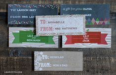 Free printables: Woodland Christmas Labels and Tags in chalkboard and kraft (with coordinating printable wrapping paper on her blog)  {Lia Griffith}
