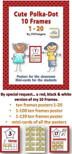 Black, red and white version of my popular 0 frames posters.  Includes numbers 1-20 posters, a 1-100 poster, a 1-120 poster and mini-cards of all posters.  Common Core State Standards (CCSS) aligned.