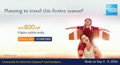 Jet Airways- Get flat Rs 800 off on your Domestic Flights via Amex cards (No minimum purchase)