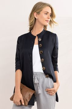 Capture Button Detail Linen Jacket at EziBuy New Zealand. Buy women's, men's and kids fashion online. Trench Coats, Womens Clothing Stores, Clothes For Women, Chic Outfits, Fashion Outfits, Blazers, Linen Jackets, Elegant Outfit, Fashion Tips For Women