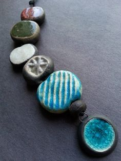 RAKU Multi-color 6 bead set with Turquoise stoneware and recycled glass dot charm/pendant by Kristie Roeder - https://www.facebook.com/groups/CeramicArtBeadMarket/