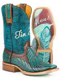 Tin Haul Women's Feather Hand Tooled Boot's #14-021-0007-1211 #TinHaul #CowboyWestern