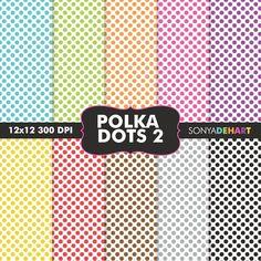 Polka Dots On White Digital Papers by SonyaDeHart on @creativemarket