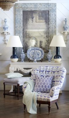 Furniture upholstered in John Robshaw Textiles. #blueandwhite