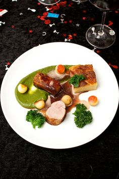 ... pea puree pork belly roasted apple and pea puree belly on pea cooked