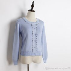 2016 2016 Black/White/Pink/Pale Blue Crystal Women'S Cardigans High Quality Long Sleeves Women'S Sweaters 101212 From Michellayao123, $27.04 | Dhgate.Com