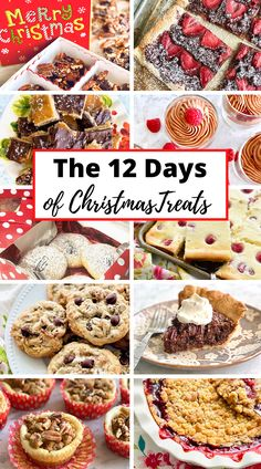 Enjoy a treat for each day of the 12 Days of Christmas! There's 12 yummy recipes including chocolate covered cherry bark, toffee bars, strawberry chocolate tarts, raspberry mousse, cheese biscuits, cheesecake, chocolate pecan pie, baileys streusel cups, cherry crumble, and Santa's chocolate chip cookies! #christmas #holidays #12daysofchristmas #desserts #treats #sweets | QuicheMyGrits.com