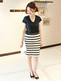 ショップスタッフ mai*Spick & Spanバイヤー│Spick and Spanのスカートコーディネート-WEAR ボーダースカート コーデ 夏 skart tight stripe