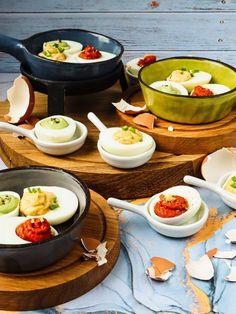 Duivels lekkere eitjes, voor elk feestje - Heerlijke Happen Ramen, Panna Cotta, Snacks, Ethnic Recipes, Dulce De Leche, Appetizers, Treats