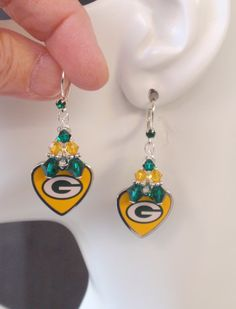 Green Bay Packers Earrings, Packers Jewelry, Green and Gold Crystal Earrings, Pro Football Packers Bling Accessory Fanwear by scbeachbling on Etsy