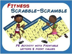 Fitness Scrabble-Scramble- PE Activity with Printable Letters and Point Values