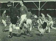 Stoke City - Leeds Utd,  April 1968 at the Victoria Ground. Jack Charlton is not happy