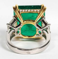 Rare and Important GIA Certified 14.64 carat Colombian Emerald and Diamond Ring | From a unique collection of vintage cocktail rings at http://www.1stdibs.com/jewelry/rings/cocktail-rings/