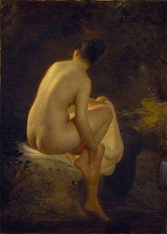August Riedel, Girl Bathing (German painter born 1799- died 1883)