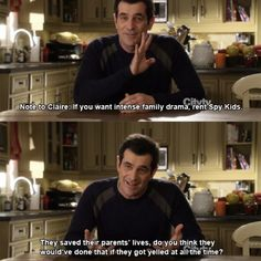 14 funny pictures from Modern Family! Modern Family Funny, Modern Family Quotes, Phil Dunphy, Spy Kids, Tv Show Quotes, Geek Humor, I Cant Even, Best Tv Shows, Funny Stories