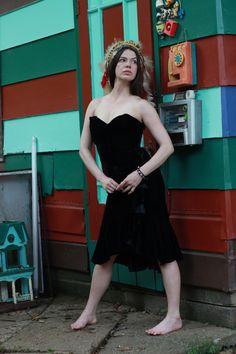 Vintage Black VELVET strapless COCKTAIL dress small by CedarBelle