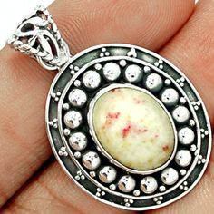 Cinnabar 925 Sterling Silver Pendant Jewelry CNBP329