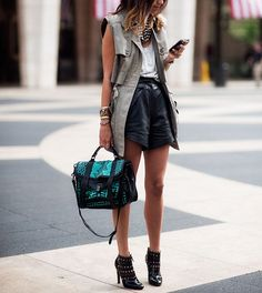 Leather shorts, khaki jacket & chunky necklace - festival outfit