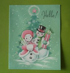 Vtg. Unused  Hampshire Christmas Card-Cute Pastel Snowman Couple Bring Gifts    eBay