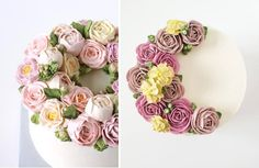 buttercream peonies and buttercream ranunculas by Eat Cake Be Merry left, Miso Bakes right