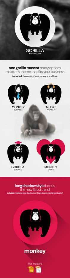 Monkey and Gorilla logo template Vector on Behance