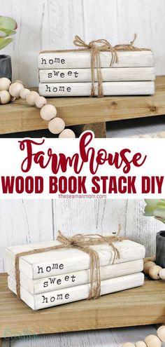 Do you love the look of a mini stack of books on your coffee table? Create an easy DIY farmhouse book stack using scrap paper, glue, and paint. This craft is perfect for kids who want to learn how to make something with their hands or just as a quick way to spruce up your living space! #easypeasycreativeideas #farmhouse #homedecor #diycrafts #farmhousedecor