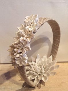 White floral garden head piece on Etsy, $25.00