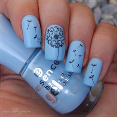 Blue Matte Dandelion Puff Nail Design.