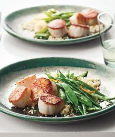 Seared Scallops With Snow Peas and Orange from realsimple.com #myplate #protein #vegetables