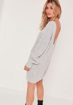 V Back Mini Dress Grey