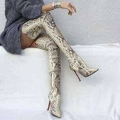 Snake Pattern Thigh High Heels Over Boots - deevybuy fashion cloth - Damenschuhe Thigh High Boots, High Heel Boots, Heeled Boots, Botas Sexy, High Shoes, High Heels Stilettos, Stiletto Heels, Shoes Heels, Long Boots