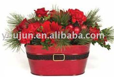 metal flower bucket, christmas planter
