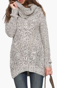 Chunk Cowl Neck Oversized Sweater in Beige