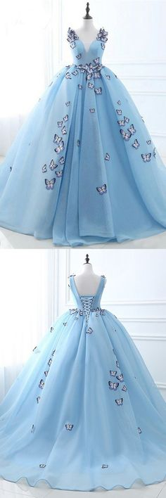 Ball Gown Deep V-Neck Court Train Blue Tulle Prom Dress with Appliques M1729