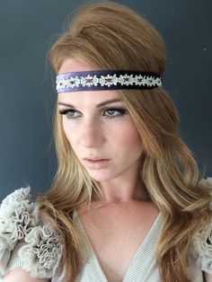 Violet Dreams  1920 Great Gatsby Dusty Violet Purple Silver Headband by Miss S-a Headbands