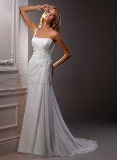 Chiffon Sheath One-shoulder Wedding Dress, I just wish the bottom was a bit more wide