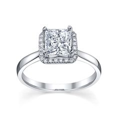 Starry Night - Tranquility Square Halo Engagement Ring - Laskers.com