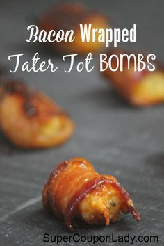 Looking for an absolutely Delicious recipe that everyone will go crazy over? This Bacon Wrapped Tater Tot Bombs will not disappoint! Appetizers For Party, Appetizer Recipes, Dip Recipes, Easy Recipes, Recipies, Bacon Wrapped Tater Tots, My Favorite Food, Favorite Recipes, Bombe Recipe