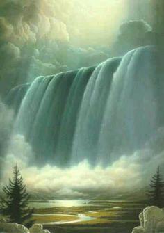 Waterfalls- just add thai coconut Scenery Pictures, Cool Pictures, Bible Pictures, Beautiful Waterfalls, Beautiful Scenery, Beautiful Places, Natural Waterfalls, Beautiful Sites, Beautiful Artwork